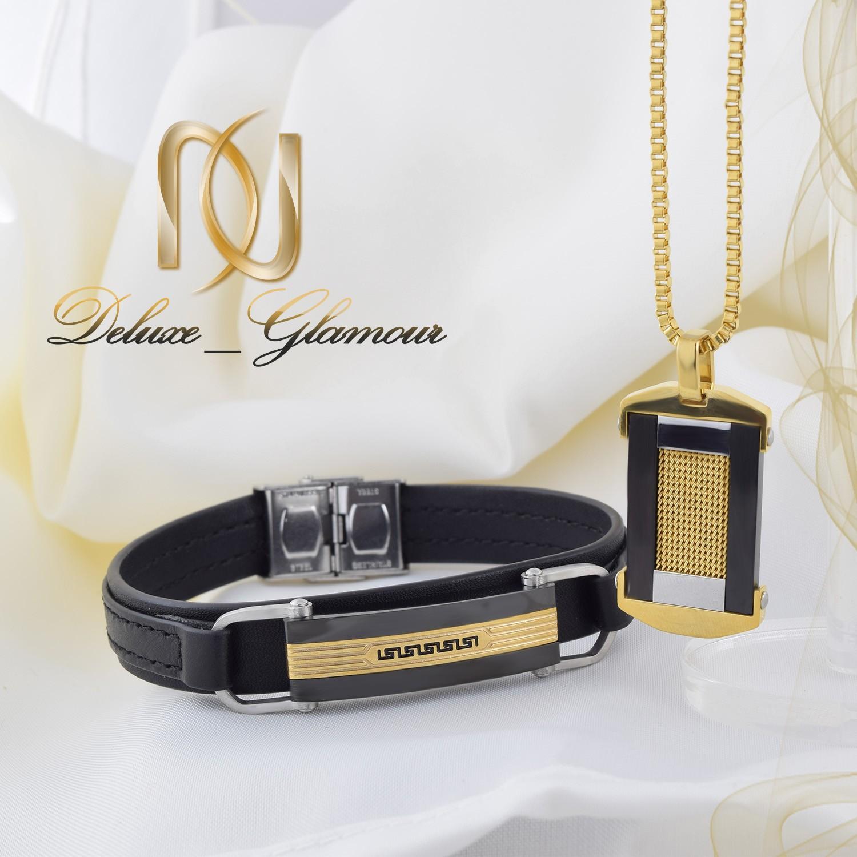خرید ست دستبند و گردنبند مردانه چرم و استیل Ns-n214 - عکس اصلی