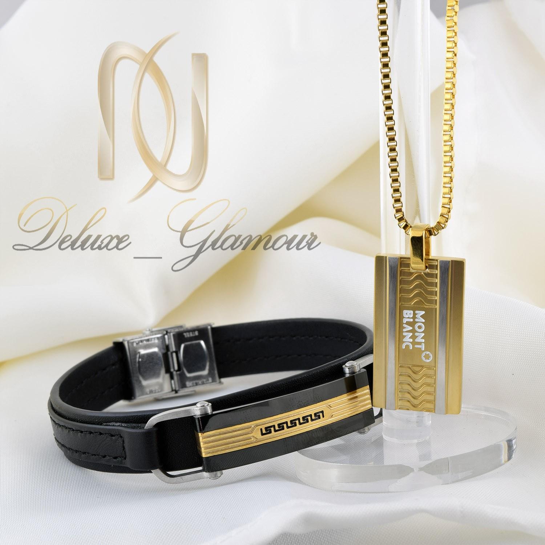 ست دستبند و گردنبند مردانه چرم و استیل ns-n215 از نمای روبرو