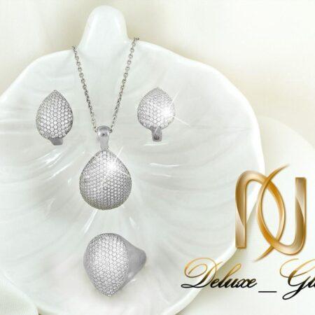 سرویس نقره جواهری  نگیندار طرح اشک Se-n137