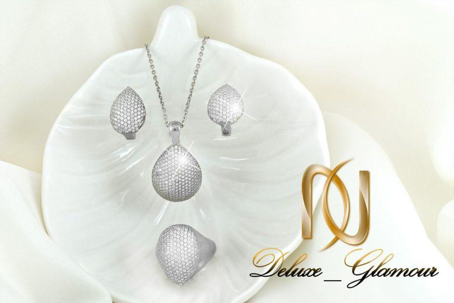 سرویس نقره جواهری نگیندار طرح اشک Se-n137 - عکس اصلی