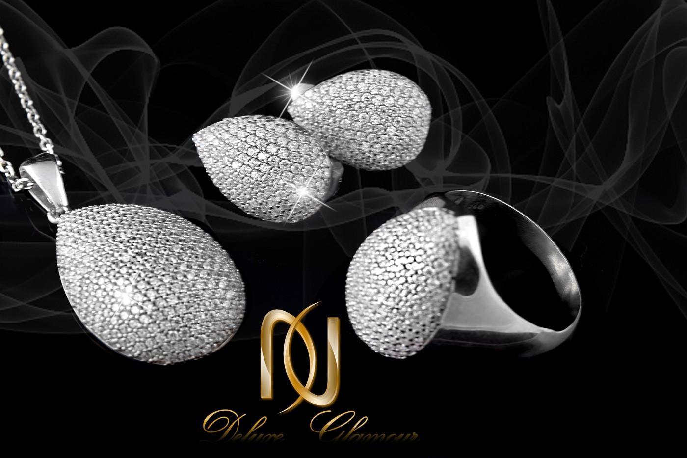خرید سرویس نقره جواهری نگیندار طرح اشک Se-n137 - زمینه مشکی