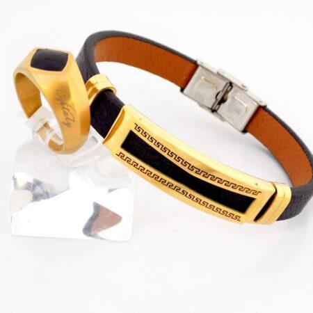 نیم ست دستبند و انگشتر مردانه طلایی و مشکی ns-n208