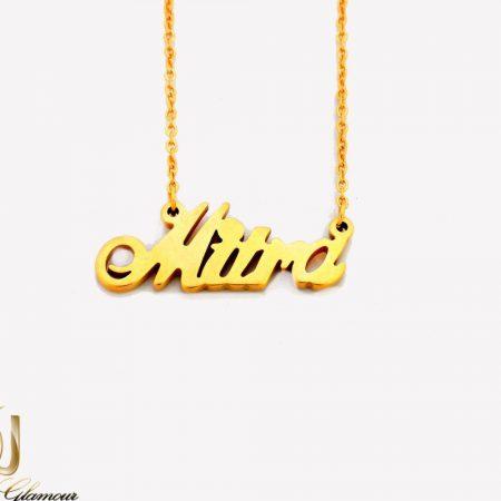 گردنبند اسم میترا لاتین استیل با روکش آب طلا nw-n255