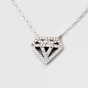 گردنبند دخترانه نقره طرح الماس با نگین های برلیان اتمی nw-n248 از نمای نزدیک