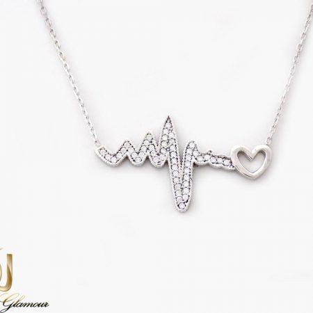 گردنبند دخترانه نقره طرح ضربان قلب با نگین های برلیان اصل nw-n250 از نمای روبرو