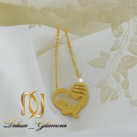 گردنبند زنانه استیل طلای طرح مادر و فرزند nw-n258 از نمای روبرو
