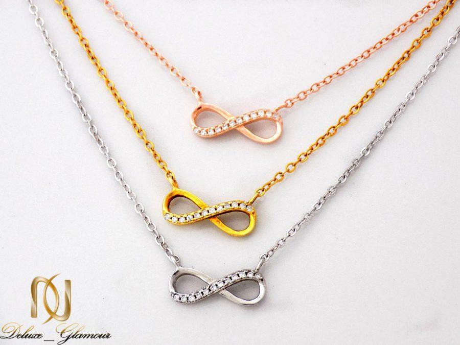 گردنبند نقره دخترانه سه رنگ و سه ردیفه طرح بینهایت Nw-n251
