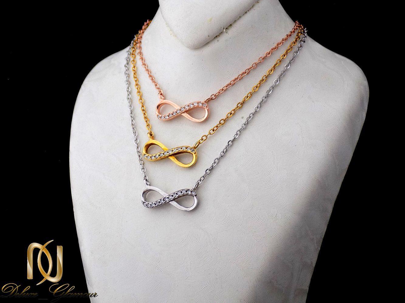 گردنبند نقره دخترانه سه رنگ و سه ردیفه طرح بینهایت Nw-n251 - روی مانکن