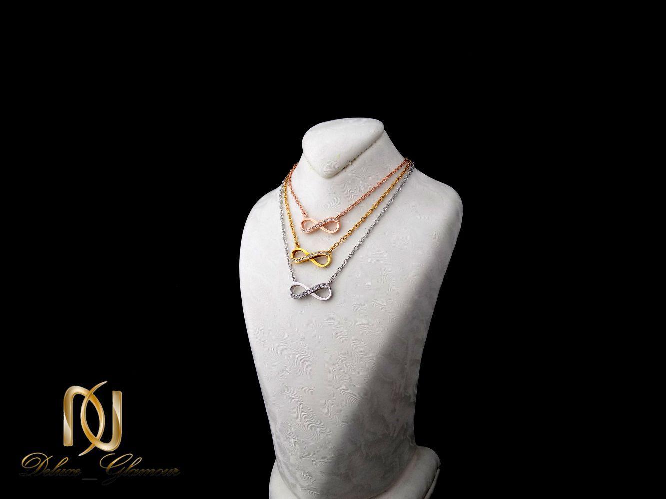 گردنبند نقره دخترانه سه رنگ و سه ردیفه طرح بینهایت Nw-n251 (3)