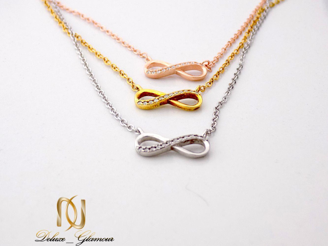 گردنبند نقره دخترانه سه رنگ و سه ردیفه طرح بینهایت Nw-n251 - عکس از پلاک ها