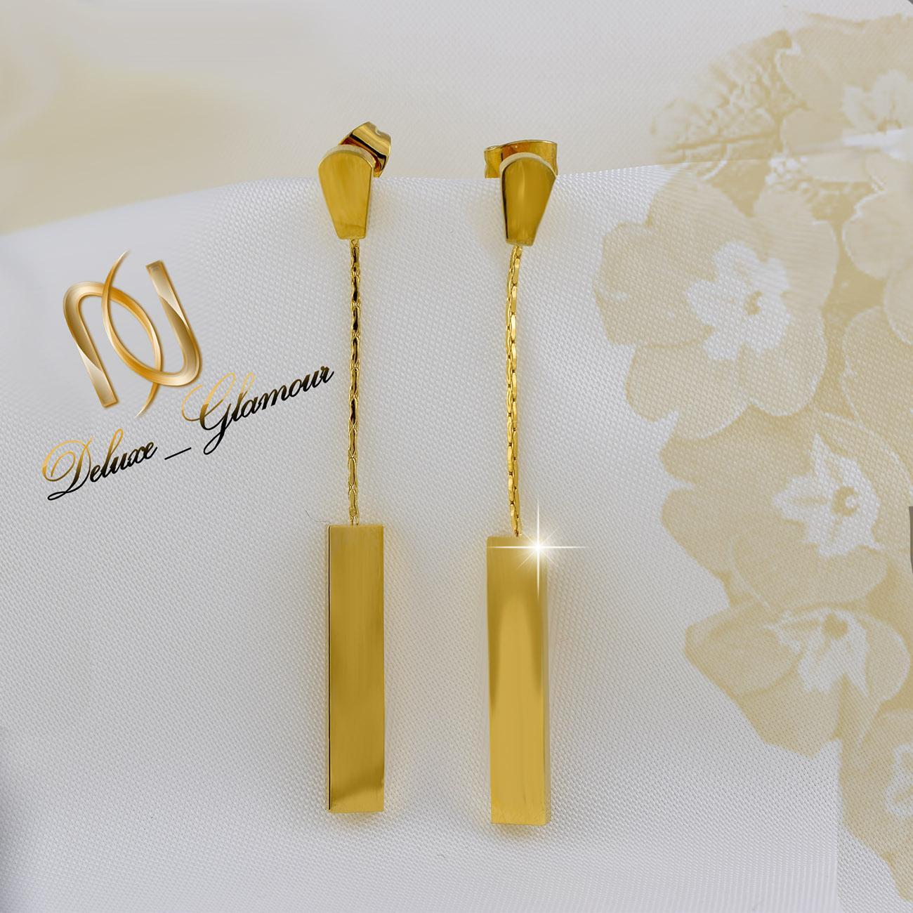 گوشواره آویزی طلایی بلند با قفل میخی er-n155 از نمای روبرو