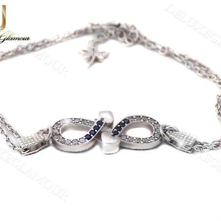 دستبند دخترانه ظریف نقره طرح بینهایت و قلب Ds-n236