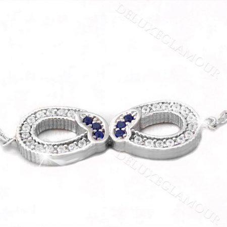دستبند نقره دخترانه طرح بینهایت و پروانه Ds-n235