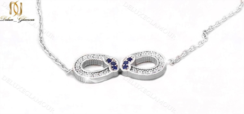 دستبند نقره دخترانه طرح بینهایت و پروانه Ds-n235 - عکس اصلی