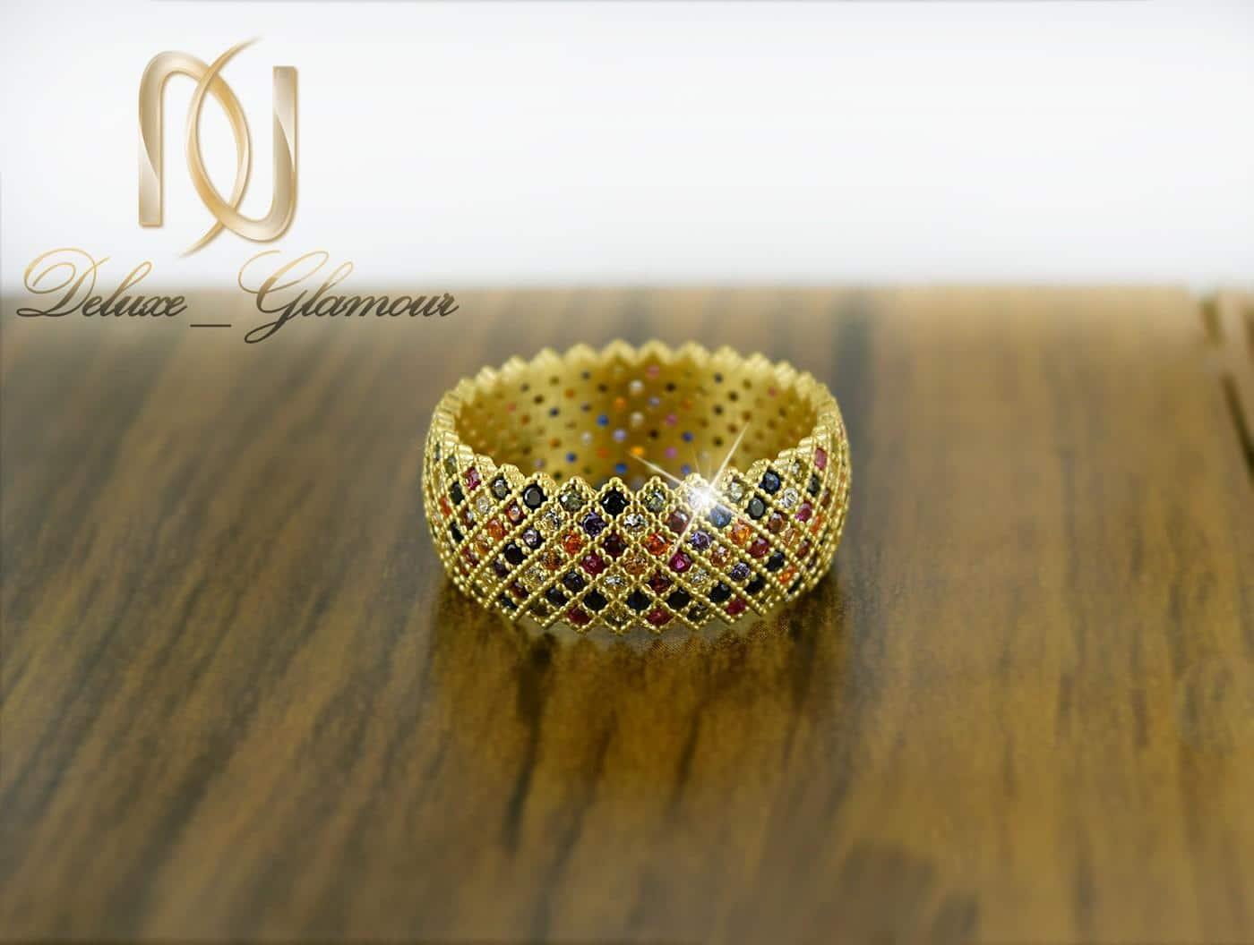 انگشتر زنانه نقره طلایی با نگین های مارکازیت رنگی rg-n278