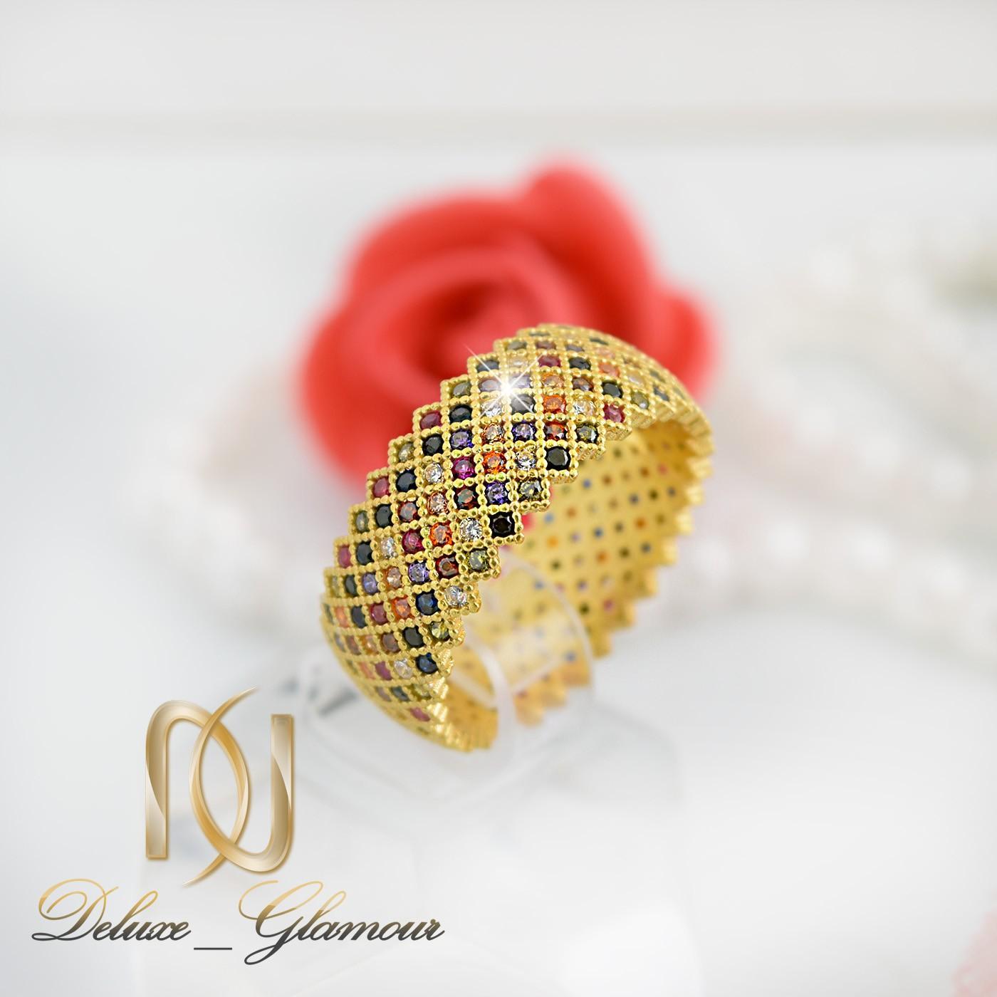 انگشتر زنانه نقره طلایی با نگین های مارکازیت رنگی rg-n278 از نمای کنار