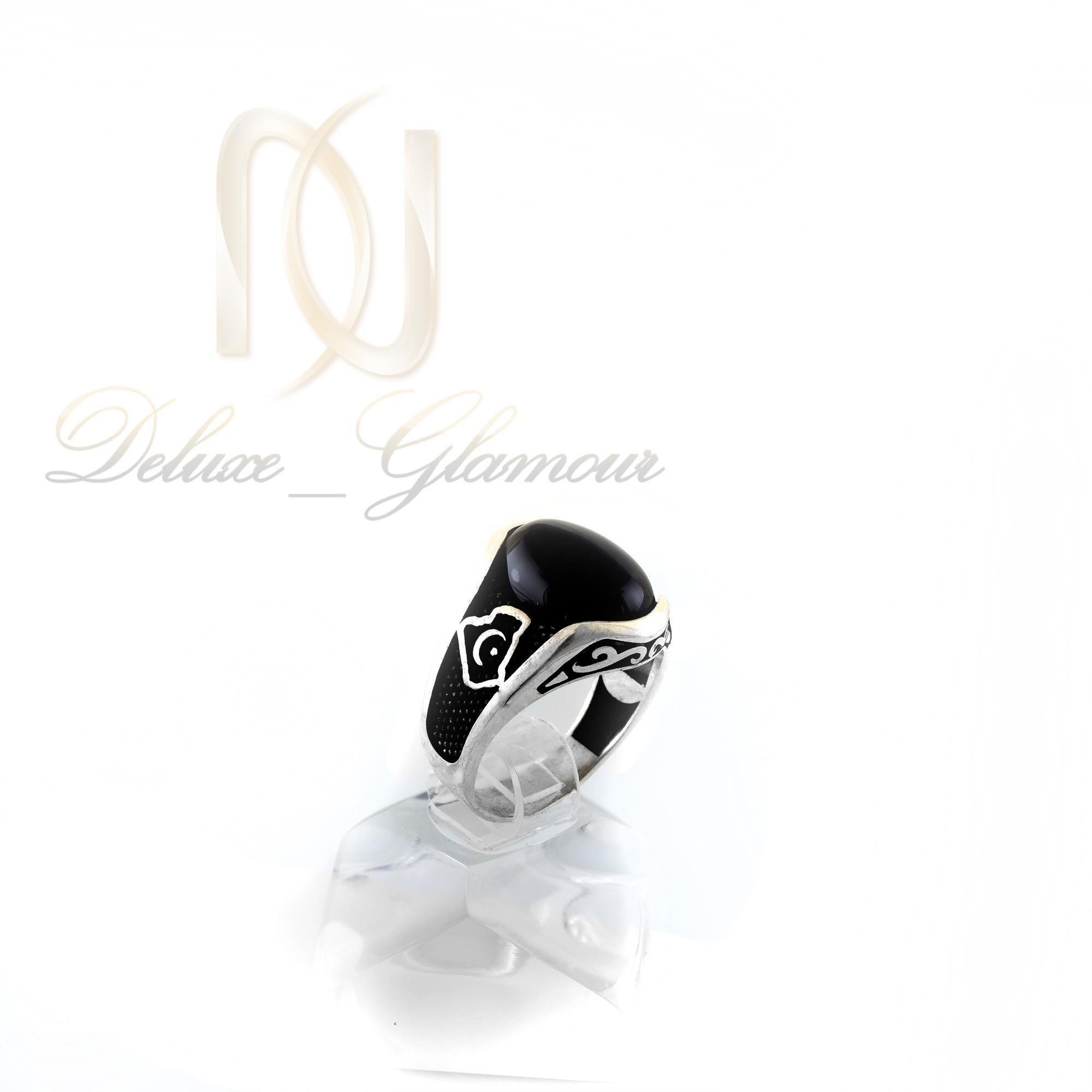 انگشتر مردانه نقره با سنگ عقیق مشکی rg-n289 از نمای روبرو