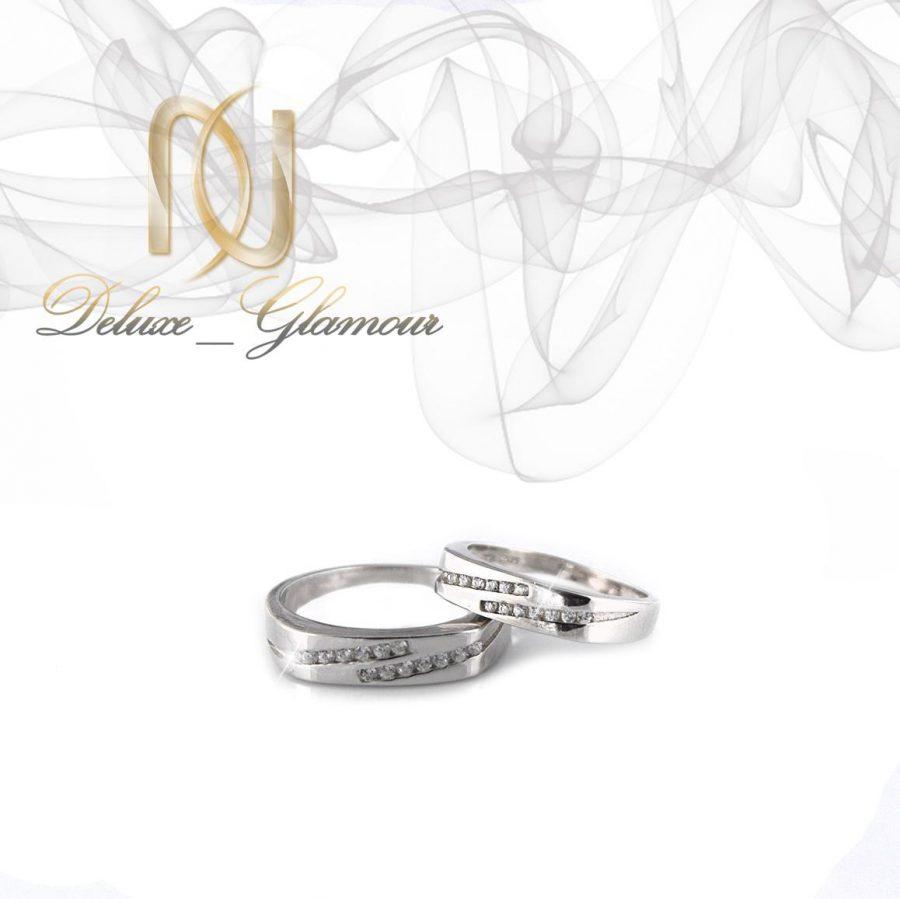 حلقه ست نقره تایلندی با نگین برلیان اتمی rg-n301 از نمای سفید