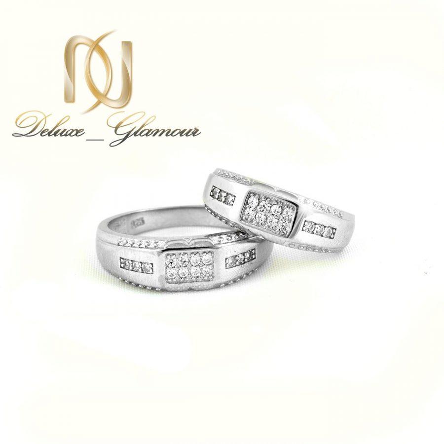حلقه ست نقره 925 تایلندی با طرح مستطیلی rg-n275 از نمای سفید