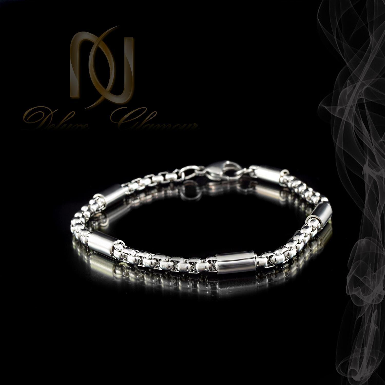 دستبند اسپرت استیل نقره ای ds-n281 از نمای مشکی