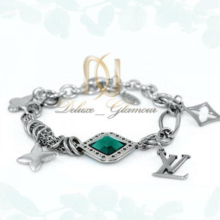 دستبند دخترانه استیل آویز دار نگین سبز ds-n280 از نمای روبرو