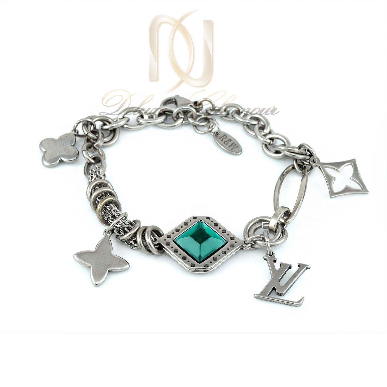 دستبند دخترانه استیل آویز دار نگین سبز  ds-n280