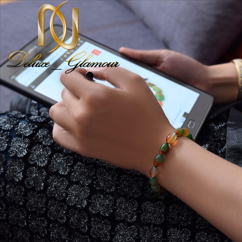 دستبند دخترانه اسپرت سنگ عقیق دو رنگ ds-n271 - روی دست