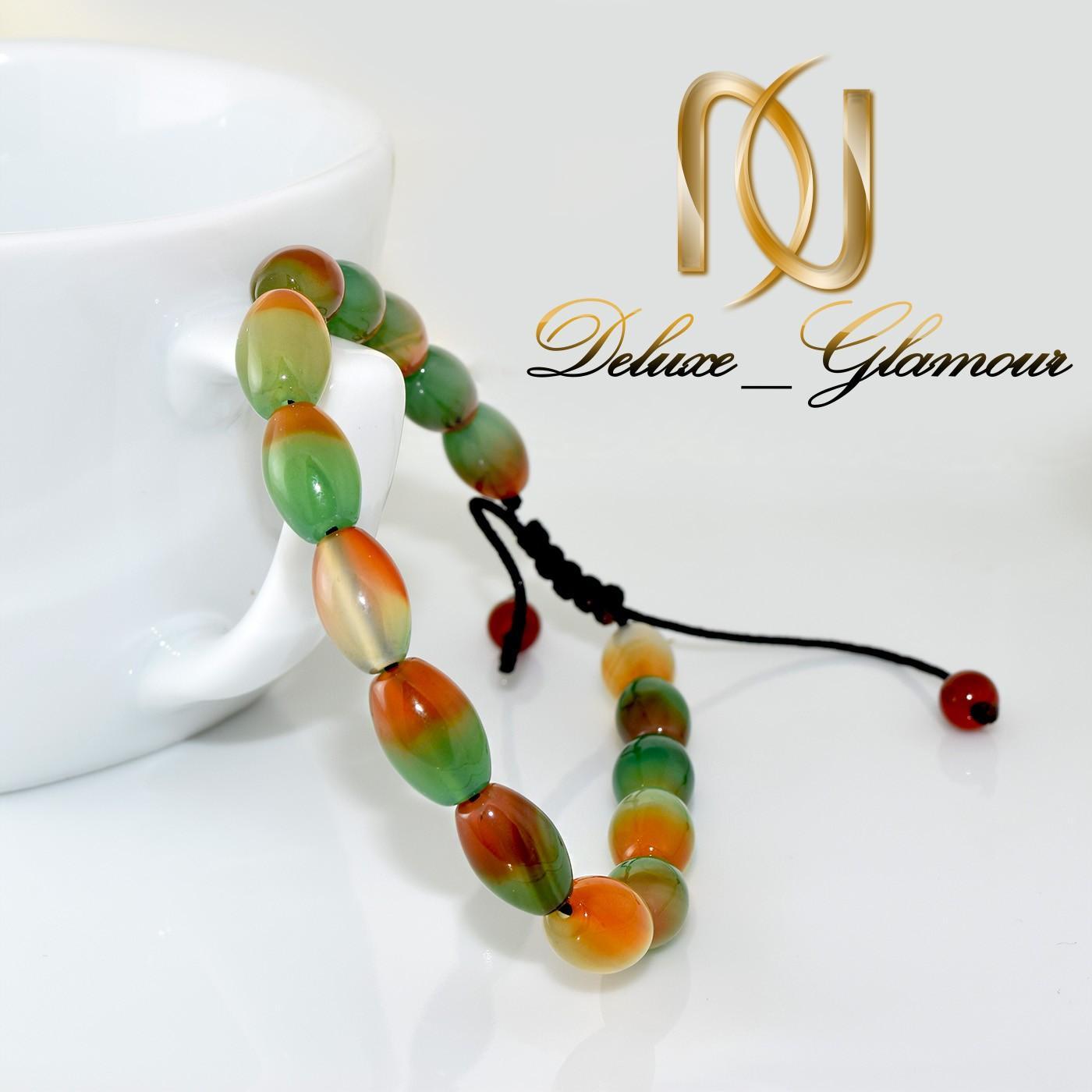 دستبند دخترانه اسپرت سنگ عقیق دو رنگ ds-n271 از نمای کنار
