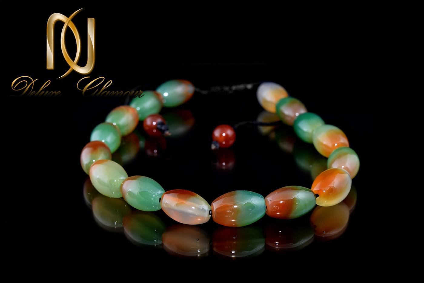 دستبند دخترانه اسپرت سنگ عقیق دو رنگ ds-n271 از نمای مشکی