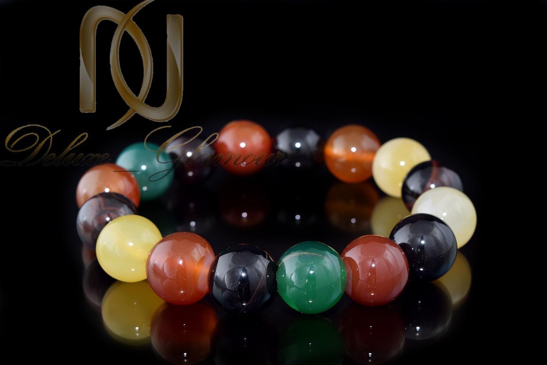 دستبند عقیق رنگارنگ دخترانه اصل Ds-n272 - زمینه مشکی