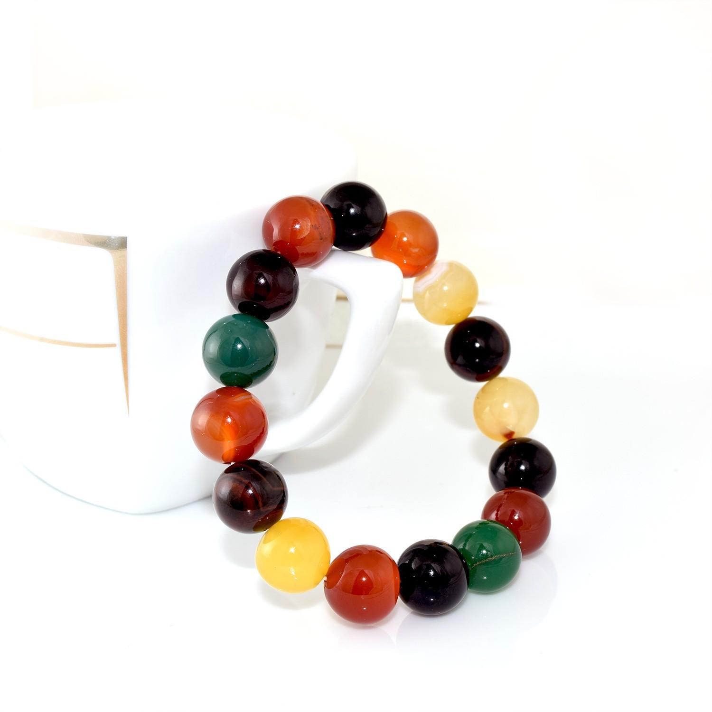 دستبند عقیق رنگارنگ دخترانه اصل Ds-n272 - عکس تمام نما
