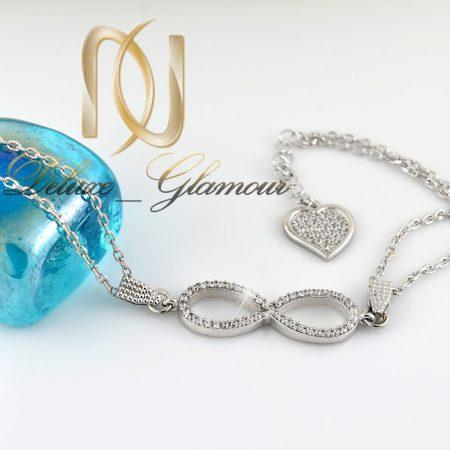 دستبند نقره دخترانه با طرح بی نهایت ds-n277 از نمای کنار