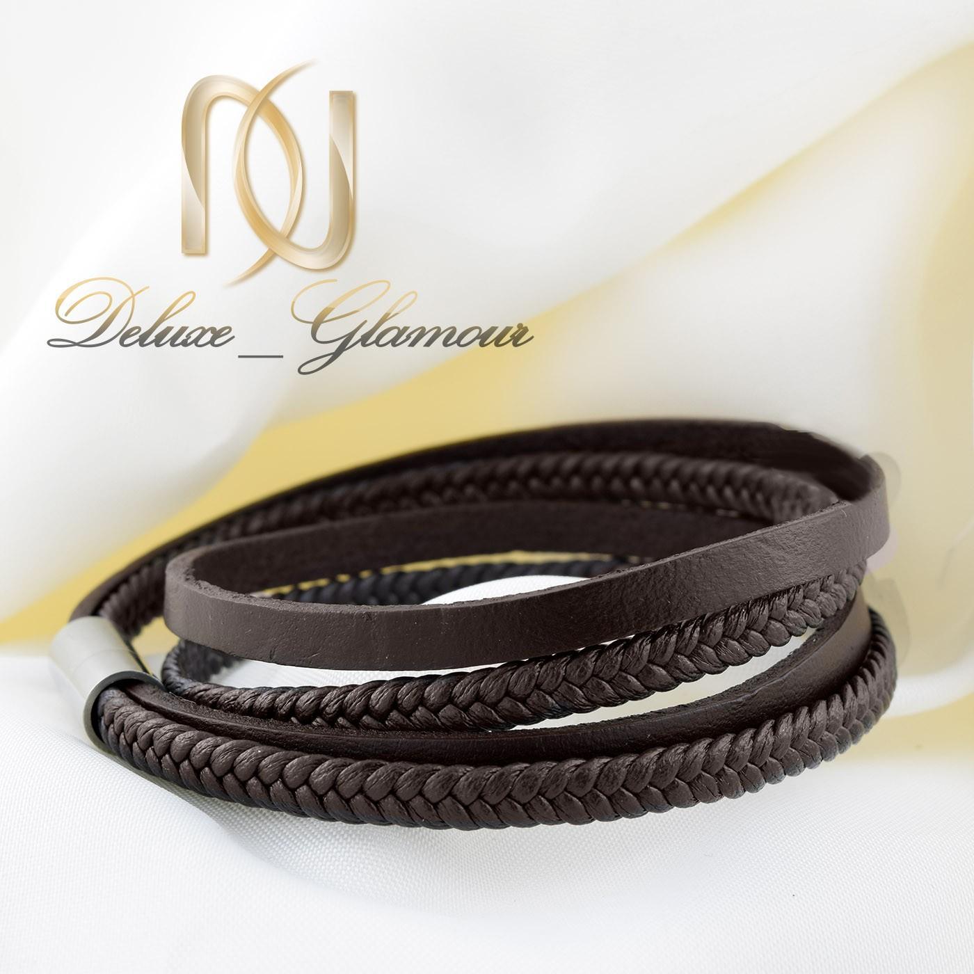 دستبند چرم مردانه قهوه ای چهار لاینه ds-n265 از نمای روبرو