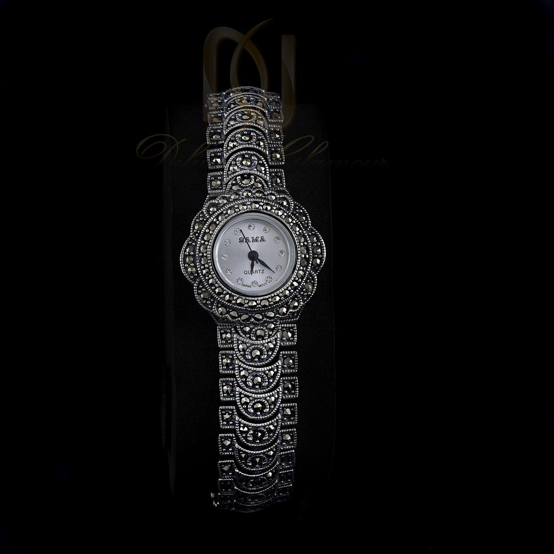 ساعت نقره سیاه قلم زنانه با صفحه گرد Wh-102۲