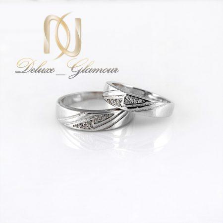ست حلقه نقره تایلندی با نگین برلیان اتمی RG-N302 از نمای سفید