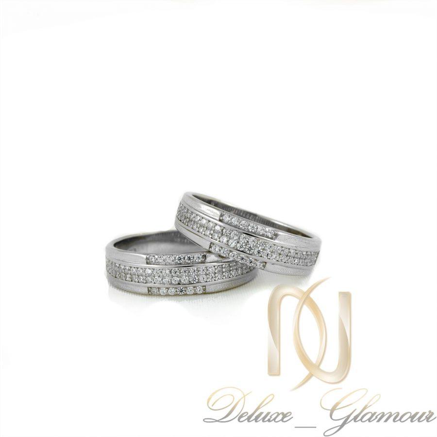 ست حلقه نقره تایلندی سه ردیفه با نگین برلیان rg-n280 از نمای سفید