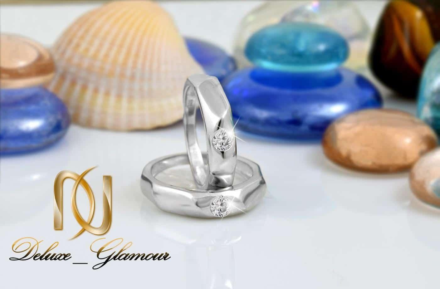 ست حلقه نقره  تایلند با نگین سفید برلیان اصل rg-n274