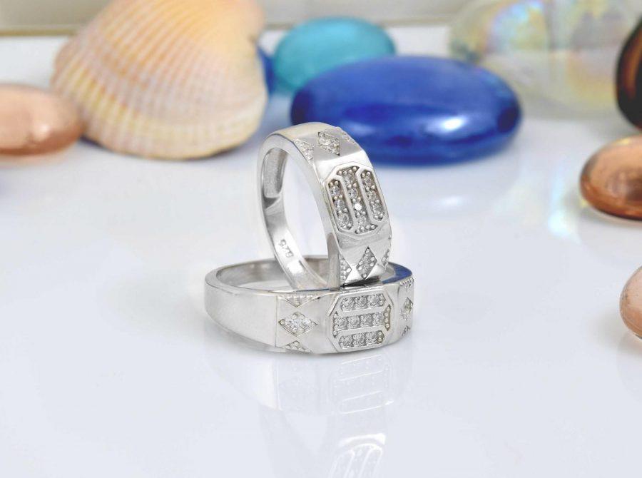 ست حلقه نقره عیار 925 تایلندی با نگین برلیان rg-n276 از نمای سفید