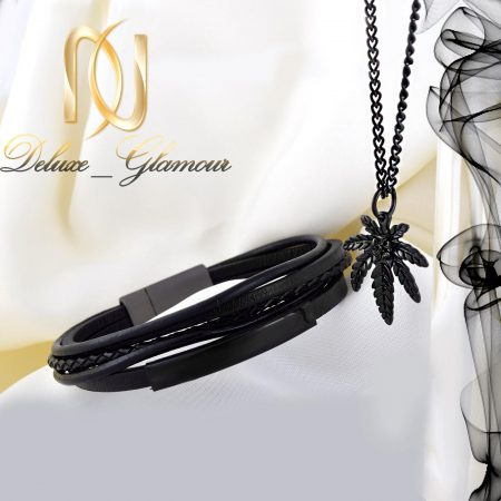 ست دستبند و گردنبند مردانه مشکی چرم و استیل ns-n217 از نمای سفید
