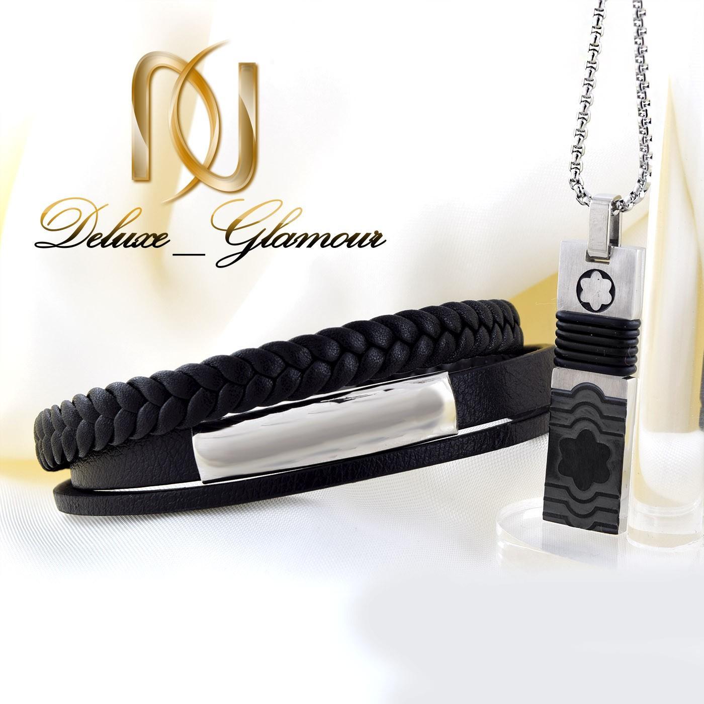 ست دستبند و گردنبند مردانه چرم و استیل ns-n216 از نمای روبرو