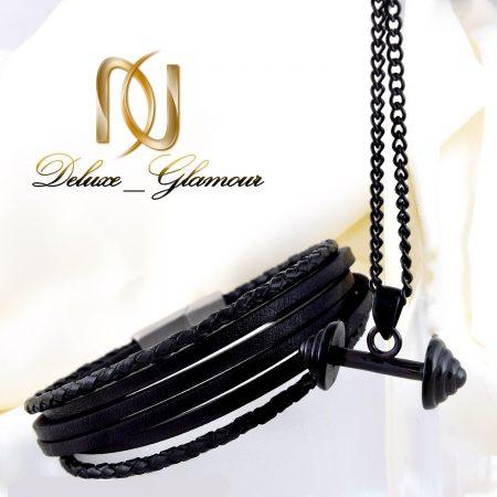 ست مردانه دستبند چرم و گردنبند استیل ns-n215 از نمای روبرو