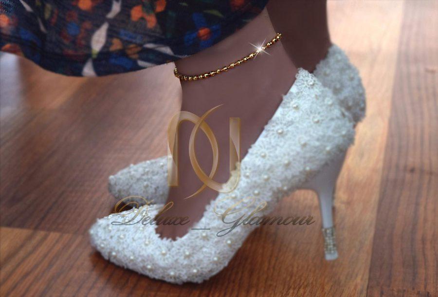 پابند استیل طرح ساچمه ای با روکش آب طلا pa-n105 - روی پا