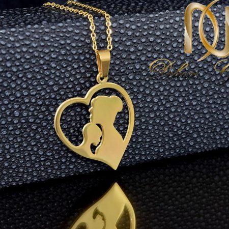 گردنبند استیل طلایی طرح مادر و فرزند nw-n264 از نمای روبرو