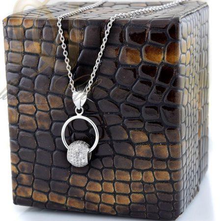 گردنبند دخترانه نقره با طرح حلقه و توپ nw-n266