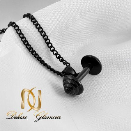 گردنبند مردانه استیل مشکی طرح دمبل NW-N259 از نمای کنار