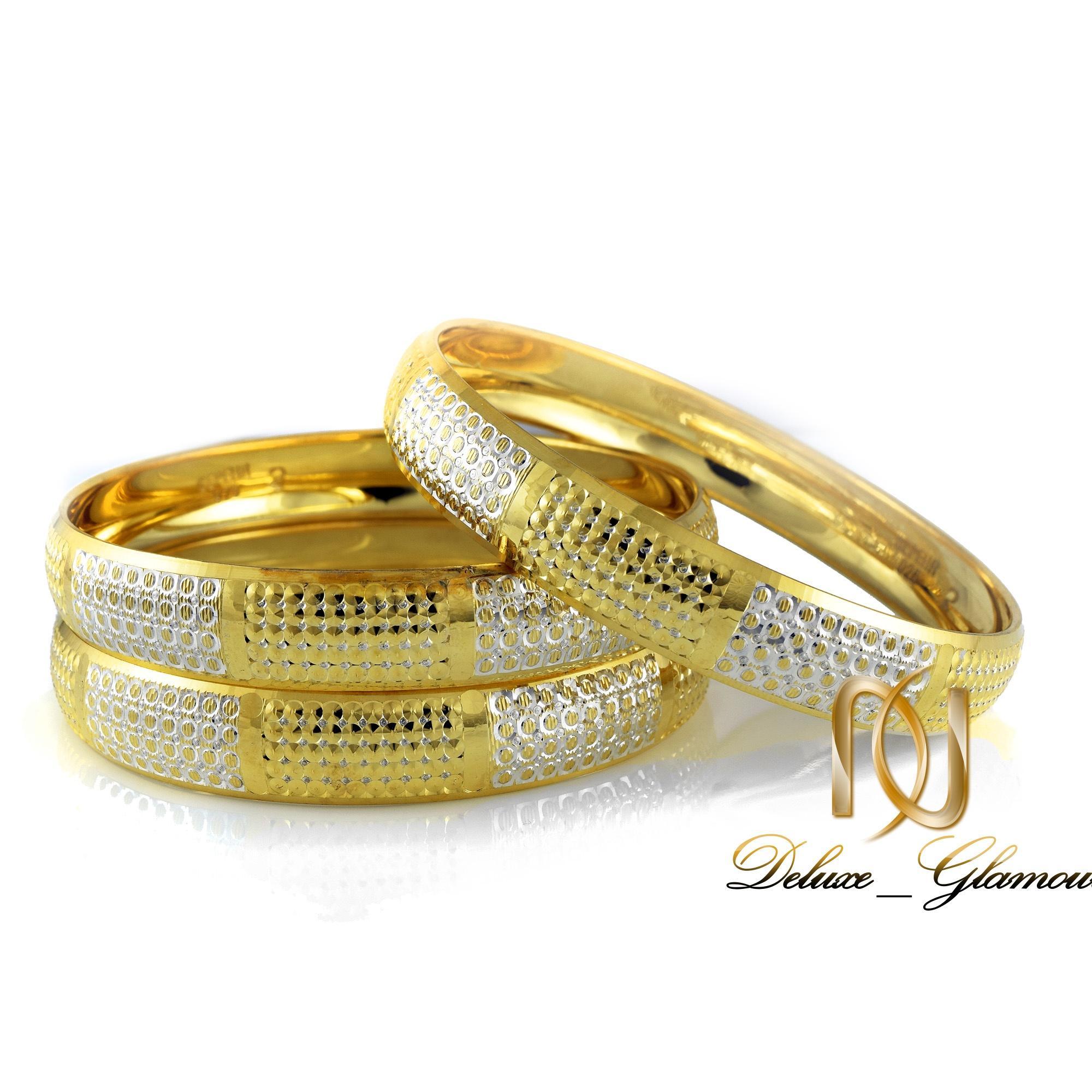 النگو نقره زنانه دو رنگ طرح طلا al-n106 از نمای سفید