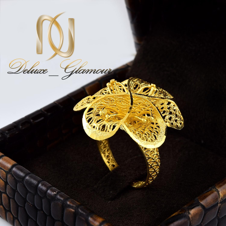انگشتر نقره زنانه طلایی طرح فیوژن rg-n310 از نمای روبرو
