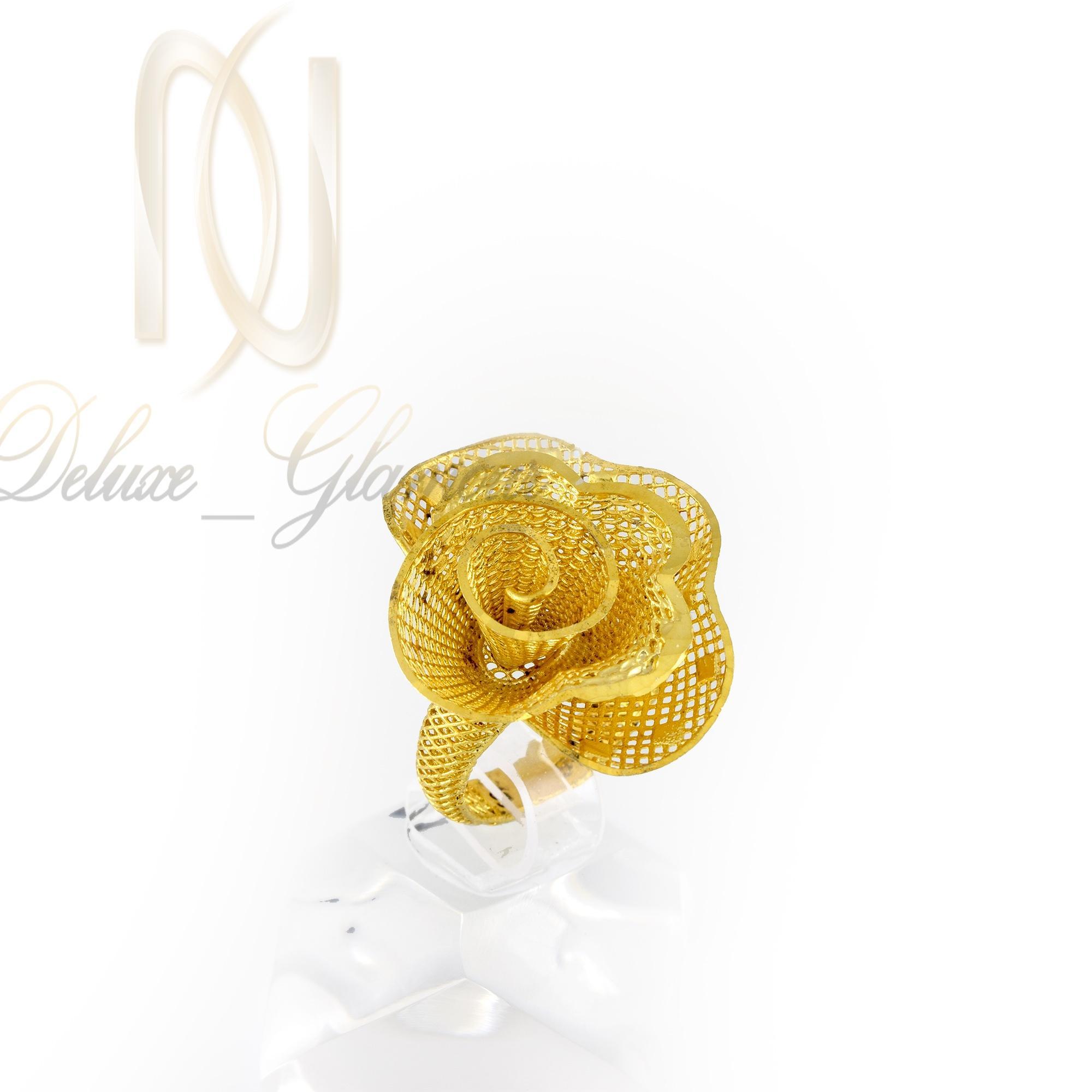 انگشتر نقره زنانه طلایی طرح گل rg-n311