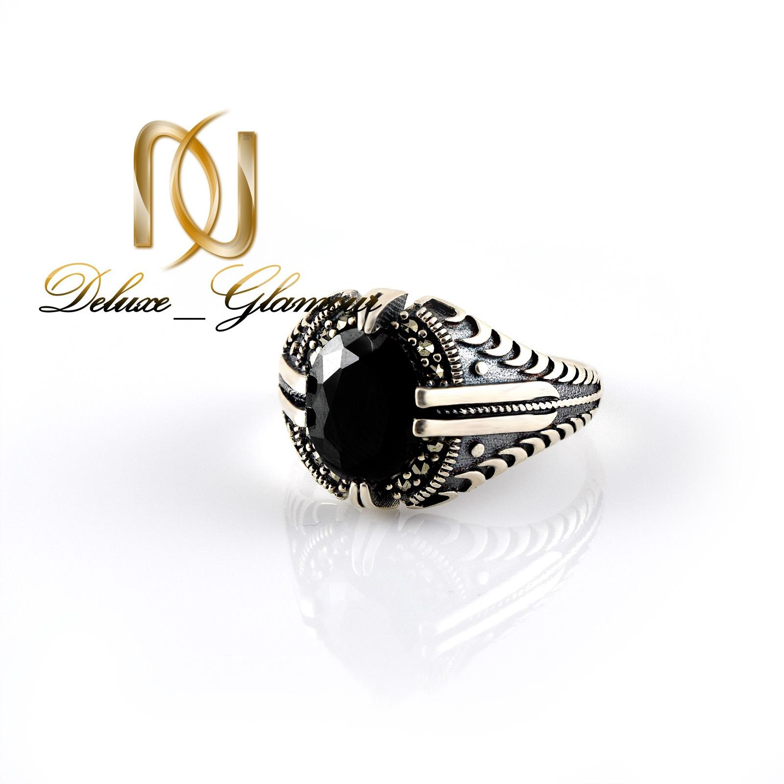 انگشتر نقره مردانه با نگين عقيق مشكي rg-n315