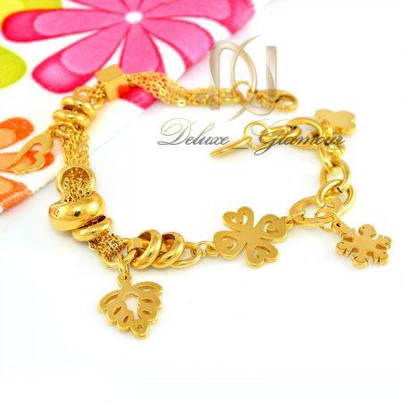 دستبند آویزدار استیل طرح طلا ds-n290 از نمای سفید